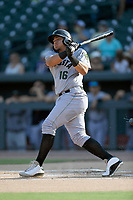 Right fielder Diego Rincones (16) of the Augusta GreenJackets bats in a game against the Columbia Fireflies on Saturday, June 1, 2019, at Segra Park in Columbia, South Carolina. Columbia won, 3-2. (Tom Priddy/Four Seam Images)