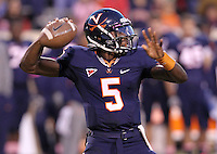 Oct. 22, 2011 - Charlottesville, Virginia - USA; Virginia Cavaliers quarterback David Watford (5) handles the ball during an NCAA football game against the North Carolina State Wolfpack at the Scott Stadium. NC State defeated Virginia 28-14. (Credit Image: © Andrew Shurtleff