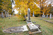 Prospect Cemetery in Epping, New Hampshire USA during the autumn months.
