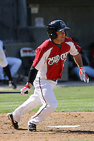 Sean Danielson #8 of the Carolina Mudcats at bat during a game against the Chattanooga Lookouts on on May 9, 2010 in Zebulon, NC.