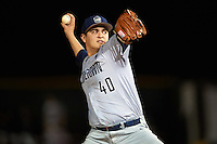 Georgetown Hoyas relief pitcher Jeremiah Burke (40) delivers a pitch during a game against the Chicago State Cougars on March 3, 2017 at North Charlotte Regional Park in Port Charlotte, Florida.  Georgetown defeated Chicago State 11-0.  (Mike Janes/Four Seam Images)