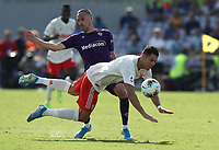 Calcio, Serie A: Fiorentina - Juventus, stadio Artemio Franchi Firenze 14 settembre 2019<br /> Juventus' Cristiano Ronaldo (l) in action with Fiorentina's Franck Ribery (r) during the Italian Serie A football match between Fiorentina and Juventus at Florence's Artemio Franchi stadium, September 14, 2019. <br /> UPDATE IMAGES PRESS/Isabella Bontto