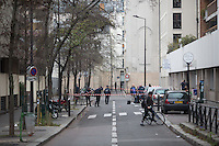 The scene near the site of the massacre at Charlie Hebdo in Paris where masked gunmen killed 12 people. Paris, France, (Jan. 7, 2015).