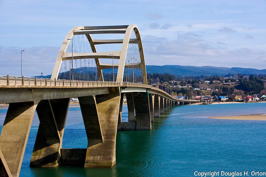 Alsea Bay Bridge, a replacement for the original coast highway birdge, near Waldport on the Oregon Coast.