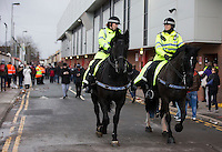 Mounted Police pictured outside Anfield ahead of the Barclays Premier League Match between Liverpool and Swansea City played at Anfield, Liverpool on 29th November 2015