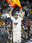 Real Madrid's Felipe Reyes celebrates the victory in the Euroleague Final Match. May 15,2015. (ALTERPHOTOS/Acero)
