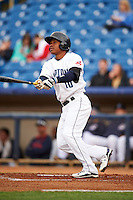 Lake County Captains second baseman Claudio Bautista (10) hits a home run during a game against the Fort Wayne TinCaps on May 20, 2015 at Classic Park in Eastlake, Ohio.  Lake County defeated Fort Wayne 4-3.  (Mike Janes/Four Seam Images)
