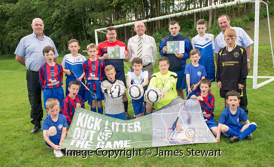 Litter Strategy Football Litter Awards 2014 : The two winning football clubs, Central Rio and Steins Thistle Club, who participated in the pilot Football Litter Campaign receive their cheques for £200 from Councillor Jim Blackwood.