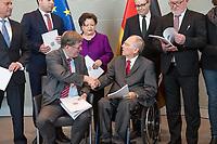 Der Wehrbeauftragte des Deutschen Bundestages, Hans-Peter Bartels (vorne links), uebergibt am Dienstag den 20. Februar 2018 seinen Jahresbericht 2017 an Bundestagspraesident Wolfgang Schaeuble (vorne rechts).<br /> Im Bild stehend vlnr.: <br /> Ruediger Lucassen (AfD);<br /> Thomas Hitschler (SPD);<br /> Anita Schaefer (CDU);<br /> Tobias Lindner (Buendnis 90/Die Gruenen);<br /> Wolfgang Helmich (SPD).<br /> 20.2.2018, Berlin<br /> Copyright: Christian-Ditsch.de<br /> [Inhaltsveraendernde Manipulation des Fotos nur nach ausdruecklicher Genehmigung des Fotografen. Vereinbarungen ueber Abtretung von Persoenlichkeitsrechten/Model Release der abgebildeten Person/Personen liegen nicht vor. NO MODEL RELEASE! Nur fuer Redaktionelle Zwecke. Don't publish without copyright Christian-Ditsch.de, Veroeffentlichung nur mit Fotografennennung, sowie gegen Honorar, MwSt. und Beleg. Konto: I N G - D i B a, IBAN DE58500105175400192269, BIC INGDDEFFXXX, Kontakt: post@christian-ditsch.de<br /> Bei der Bearbeitung der Dateiinformationen darf die Urheberkennzeichnung in den EXIF- und  IPTC-Daten nicht entfernt werden, diese sind in digitalen Medien nach §95c UrhG rechtlich geschuetzt. Der Urhebervermerk wird gemaess §13 UrhG verlangt.]