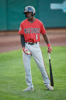 Zeek White (6) of the Billings Mustangs comes to bat against the Ogden Raptors at Lindquist Field on August 18, 2018 in Ogden, Utah. Billings defeated Ogden 6-4. (Stephen Smith/Four Seam Images)