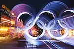The 2010 Olympic Rings and lights of Whistler Village. Special effects image.