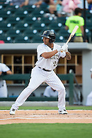 Leury Garcia (24) of the Charlotte Knights at bat against the Norfolk Tides at BB&T BallPark on July 17, 2015 in Charlotte, North Carolina.  The Knights defeated the Tides 5-4.  (Brian Westerholt/Four Seam Images)