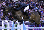 OMAHA, NEBRASKA - APR 2: Gregory Wathelet rides Forlap during the Longines FEI World Cup Jumping Final at the CenturyLink Center on April 2, 2017 in Omaha, Nebraska. (Photo by Taylor Pence/Eclipse Sportswire/Getty Images)
