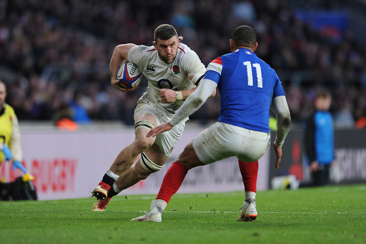 Mark Wilson of England faces up to Gaël Fickou of France during the Guinness Six Nations match between England and France at Twickenham Stadium on Sunday 10th February 2019 (Photo by Rob Munro/Stewart Communications)