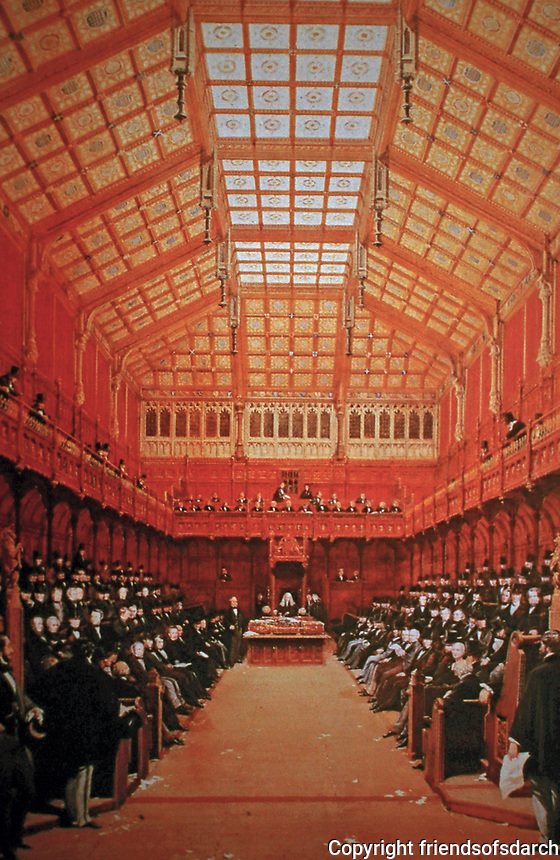 House of Commons, Augustus Pugin, London. Beaux Arts style. 1858