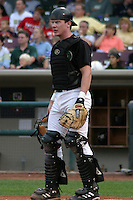 August 30, 2003:  Ryan Hanigan of the Dayton Dragons, Class-A affiliate of the Cincinnati Reds, during a Midwest League game at Fifth Third Field in Dayton, OH.  Photo by:  Mike Janes/Four Seam Images