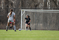 LOUISVILLE, KY - MARCH 13: Kaleigh Riehl #18 of Racing Louisville FC dribbles the ball up the field during a game between West Virginia University and Racing Louisville FC at Thurman Hutchins Park on March 13, 2021 in Louisville, Kentucky.
