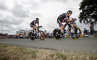 Koen de Kort (NLD/Giant-Alpecin) & Roy Curvers (NLD/Giant-Alpecin) lost contact with the teammates and are now racing to make the time-cut<br /> <br /> stage 9: TTT Vannes - Plumelec (28km)<br /> 2015 Tour de France