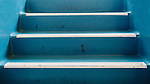 Old worn stairs, aqua, white treads, Dating to 1927, the Masonic Retirement Center, locally known as the Masonic Home, in Des Moines, Washington is now an elegant event center available for rental.  In the historic Zenith neighborhood of the city of Des Moines. Please conact douglasorton@comcast.net regarding licensing of this image.