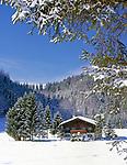 Deutschland, Bayern, Chiemgau, Winterlandschaft und Bauernhaus | Germany, Bavaria, Chiemgau, Winter scenery with farm house