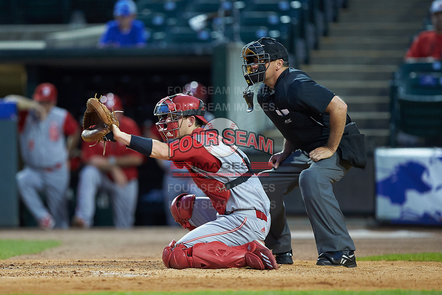 Andy Cosgrove (2) of the North Carolina State Wolfpack on defense against the North Carolina Tar Heels in Game Twelve of the 2017 ACC Baseball Championship at Louisville Slugger Field on May 26, 2017 in Louisville, Kentucky. The Tar Heels defeated the Wolfpack 12-4. (Brian Westerholt/Four Seam Images)