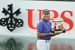 Sam Brazel of Australia receives the Trophy during the Prize giving ceremony after winning the 58th UBS Hong Kong Golf Open as part of the European Tour on 11 December 2016, at the Hong Kong Golf Club, Fanling, Hong Kong, China. Photo by Vivek Prakash / Power Sport Images