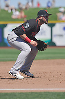Nashville Sounds third baseman Renato Nunez (34) plays defense during the Pacific Coast League game against the Omaha Storm Chasers at Werner Park on June 5, 2016 in Omaha, Nebraska.  Omaha won 6-4.  (Dennis Hubbard/Four Seam Images)