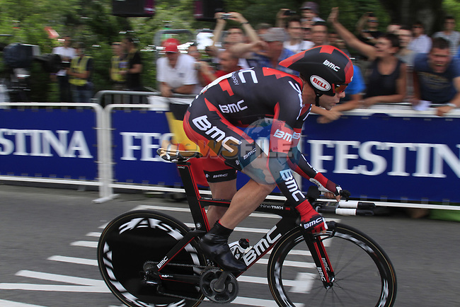 Cadel Evans (AUS) BMC Racing Team starts the Prologue of the 99th edition of the Tour de France 2012, a 6.4km individual time trial starting in Parc d'Avroy, Liege, Belgium. 30th June 2012.<br /> (Photo by Eoin Clarke/NEWSFILE)