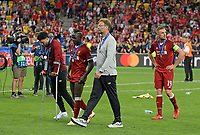 26.05.2018,  Football UEFA Champions League Finale 2018, Real Madrid - FC Liverpool, Olympiastadium Kiew (Ukraine).  Alex Oxlade-Chamberlain (FC Liverpool) , Sadio Mane (FC Liverpool) , Trainer Juergen Klopp (FC Liverpool) and Jordan Henderson (FC Liverpool) dejected  *** Local Caption *** © pixathlon<br /> <br /> Contact: +49-40-22 63 02 60 , info@pixathlon.de