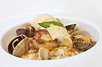 Europe/France/Provence-Alpes-Côte d'Azur/06/Alpes-Maritimes/Saint-Jean-Cap-Ferrat: Risotto aux palourdes recette de Georges Pélissier chef  du restaurant de l'Hôtel: La Voile d'Or