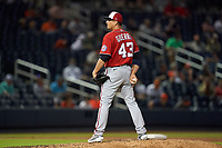 Washington Nationals pitcher Javy Guerra (43) during a Major League Spring Training game against the Houston Astros on March 19, 2021 at The Ballpark of the Palm Beaches in Palm Beach, Florida.  (Mike Janes/Four Seam Images)