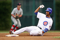 August 18, 2007: Derek Lee of the Chicago Cubs slides into second base in a game versus the St. Louis Cardinals at Wrigley Field in Chicago, IL.  Photo by:  Chris Proctor/Four Seam Images