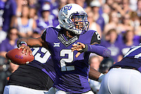 TCU quarterback Trevone Boykin (2) throws a pass during an NCAA football game, Saturday, October 18, 2014 in Fort Worth, Tex. TCU leads Oklahoma State 28-9 at the halftime. (Mo Khursheed/TFV Media via AP Images)