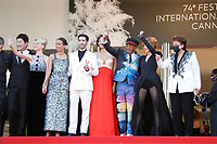 """CANNES, FRANCE - JULY 17:  Jury members : Jessica Hausner, Kleber Mendonça Filho, Song Kang-Ho, Mélanie Laurent, Mati Diop, Tahar Rahim, Maggie Gyllenhaal, Jury president and Director Spike Lee, Mylène Farmer, French minister of culture Roselyne Bachelot at the final screening of """"OSS 117: From Africa With Love"""" and closing ceremony during the 74th annual Cannes Film Festival on July 17, 2021 in Cannes, France. <br /> CAP/GOL<br /> ©GOL/Capital Pictures"""