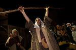 A shepherd announces the birth of the savior at the Journey to Bethlehem Living Nativity reenactment at Journey of Faith Baptist Church in Manhattan Beach, CA