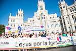 A representation of institutions stop in front of the town hall at the protest Madrid Pride 2016. July 02. 2016. (ALTERPHOTOS/Borja B.Hojas)