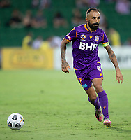 27th March 2021; HBF Park, Perth, Western Australia, Australia; A League Football, Perth Glory versus Newcastle Jets; Diego Castro of the Perth Glory takes the ball through midfield