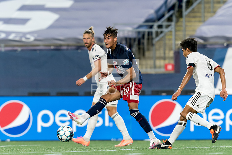 FOXBOROUGH, MA - SEPTEMBER 09: Nicolas Firmino #29 of New England Revolution II passes the ball during a game between Chattanooga Red Wolves SC and New England Revolution II at Gillette Stadium on September 09, 2020 in Foxborough, Massachusetts.