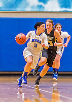 24 November 2015: Yeshiva University Maccabee Guard Yael Anna Hausdorff, a Senior from West Orange, NJ, in action against the College of Mount Saint Vincent Dolphins at the Baruch College ARC Arena Gymnasium, in New York, NY. The Dolphins defeated the Maccabees 67-30 in the NCAA Division III Women's Basketball Skyline matchup. Mandatory Credit: Ed Wolfstein Photo *** RAW (NEF) Image File Available ***
