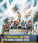 Fiji celebrate after winning the Cup Final on Day 3 of the Cathay Pacific / HSBC Hong Kong Sevens 2013 on 24 March 2013 at Hong Kong Stadium, Hong Kong. Photo by Victor Fraile / The Power of Sport Images