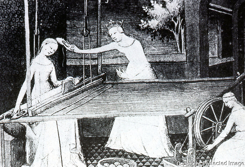 """Technology:  Horizontal Loom & Spinning Wheel, 14th Century.  These """"revolutionized textile production in 14th C.""""  Burke, CONNECTION, '93."""