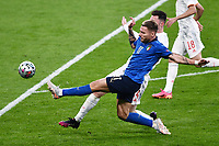 6th July 2021; Wembley Stadium, London, England; Euro 2020 Football Championships semi-final, Italy versus Spain;   Ciro Immobile cannot get to the cross ahead of Aymeric Laporte (Esp)