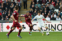 Saturday 2nd March 2013<br /> Pictured: Ben Davies (R).<br /> Re: Barclays Premier Leaguel, Swansea  v Newcastle at the Liberty Stadium in Swansea.