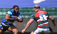 18th April 2021 2021; Recreation Ground, Bath, Somerset, England; English Premiership Rugby, Bath versus Leicester Tigers; Ellis Genge of Leicester Tigers tackles Beno Obano of Bath
