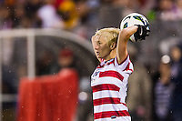 Megan Rapinoe (15) of the United States (USA) on a throw in. The United States (USA) and Germany (GER) played to a 2-2 tie during an international friendly at Rentschler Field in East Hartford, CT, on October 23, 2012.