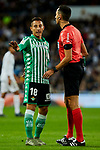 Andres Guardado of Real Betis Balompie have words with the referee during La Liga match between Real Madrid and Real Betis Balompie at Santiago Bernabeu Stadium in Madrid, Spain. November 02, 2019. (ALTERPHOTOS/A. Perez Meca)