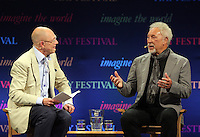 Hay on Wye. Sunday 05 June 2016<br /> Singer Tm Jones (R) speaking with Dylan Jones (L) about his book 'Over The Top And Back The Autobiography' at the Hay Festival, Hay on Wye, Wales, UK