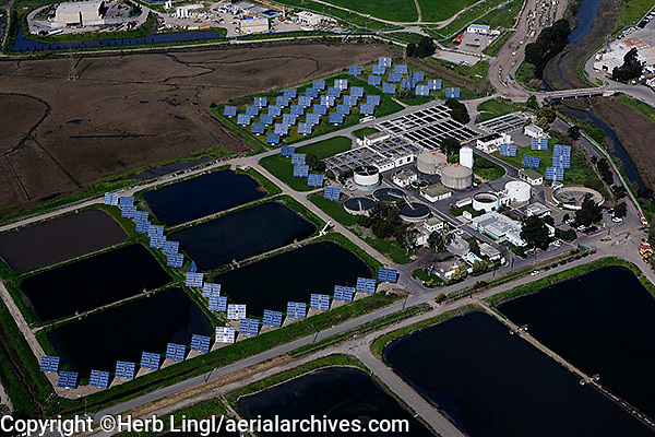 aerial photography solar panels water treatment plant Richmond, Contra Costa county California