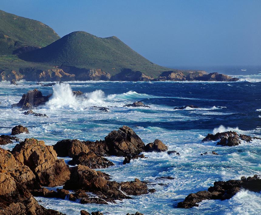 PACIFIC WAVES smash against the rocks at GARAPATA STATE BEACH - MONTEREY BAY SANCTUARY, CALIFORNIA..