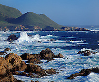 PACIFIC WAVES smash against the rocks at GARAPATA STATE BEACH - MONTEREY BAY SANCTUARY, CALIFORNIA..
